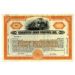 Remington Arms Co., 1920-30's Specimen Stock Certificate.