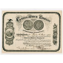 Gregg Brick Company of Philly PA, 1878 Stock Certificate.