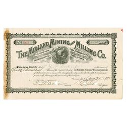 Midland Mining and Milling Co. 1892 Stock Certificate