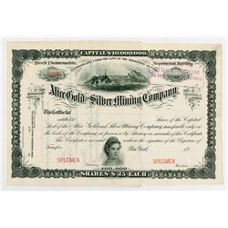 Alice Gold and Silver Mining Co., 1900-1920 Specimen Stock Certificate.