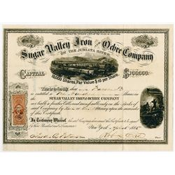 Sugar Valley Iron and Ochre Co. on the Juniata River, 1865 Stock Certificate