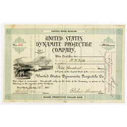 United States Dynamite Projectile Co., 1888 Issued Stock Certificate