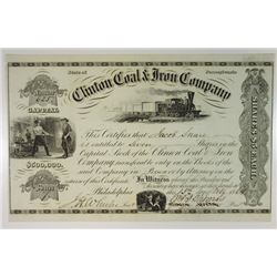 Clinton Coal & Iron Co., 1864 Issued Stock Certificate