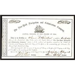 New-York Navigation and Colonization Co., 1863 Stock Certificate