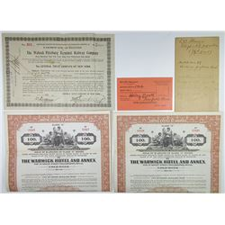 Railroad and Hotel Trio of Issued Bonds, ca.1908-1930