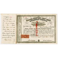 Boston, Newport and New York Steamboat Co., 1866 Stock Certificate Signed by Oliver Ames as Presiden