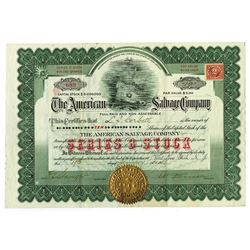 American Salvage Co., 1918 Issued Stock Certificate.