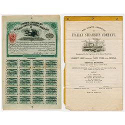 North American Italian Steam Ship Co., 1866 with Red 25cts Imprinted revenue RN-T3 Rarity.