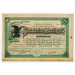 Submarine Monitor Co. 1880's Specimen Stock Certificate.