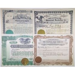 Oil & Food Stock Certificate Quartet, ca.1921-1929.