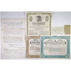 Group of Bond and Stock Certificates Issued to Vassar Brothers Hospital, 1881-1981
