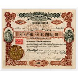 Fifth Avenue Electric Medical Co., 1901 Stock Certificate.