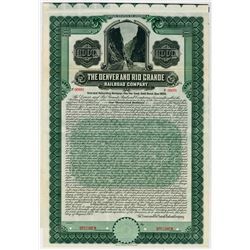 Denver and Rio Grande Railroad Co., 1908 Specimen Bond
