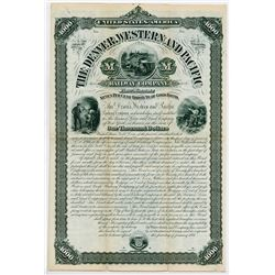 Denver, Western and Pacific Railway Co., 1881 Specimen Coupon Bond.