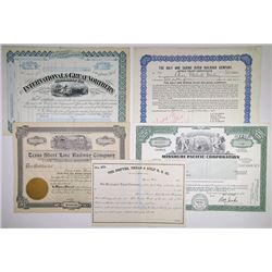 Texas Railroad Related Stock Certificates, ca.1880-1982 Quintet.