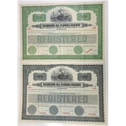 Seaboard-All Florida Railway, 1925 Specimen Registered Gold Bond Pair.