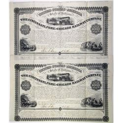 Cincinnati, Peru and Chicago Railway Co., 1855 Pair of Issued Consecutive Bonds