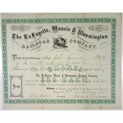 La Fayette, Muncie & Bloomington Railroad Co., 1873 Stock Certificate.