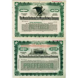 Muncie Hartford & Fort Wayne Railway Co., ca.1900-1920 Pair of Specimen Stock Certificate