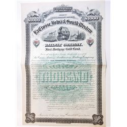 LaCrosse, Iowa & South Western Railway Co. 1883 Issued Gold Bond.