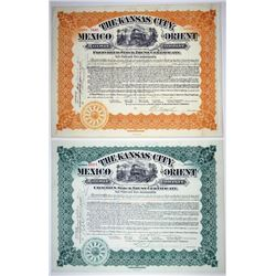Kansas City, Mexico & Orient Railway Co., 1907-1909 Pair od Issued Stock Certificates