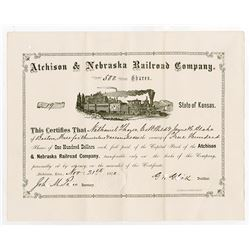 Atchison & Nebraska Railroad Co., 1870 Stock Certificate