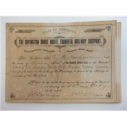 Covington Short Route Transfer Railway Co. 1895 Share Certificate Grouping