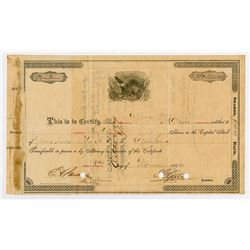Green River Stock Yard Co. 1889 Share Certificate