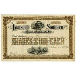 Louisville Southern Railroad Co., 1889 Issued Stock Certificate