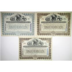 New Orleans, Texas and Mexico Railway Co., 1929-1950 Trio of Issued Stock Certificates