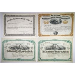 Quartet of Texas Stock Certificates, ca.1880-1900 Remainders.