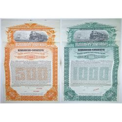 Baltimore an Ohio railroad Co., 1898 Pair of Specimen Bonds