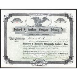 Brainerd & Northern Minnesota Railway Co. 1901 Stock Certificate.
