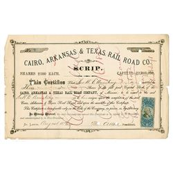 Cairo, Arkansas & Texas Rail Road Co., 1872 Cancelled Stock Scrip Certificate