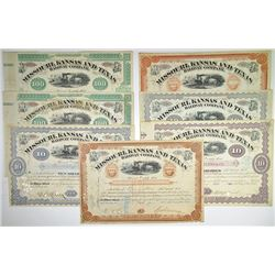 Missouri Kansas & Texas Railway Co., 1873-1888 Group of Cancelled Stock Certificates