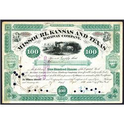 Missouri, Kansas and Texas Railway Co., 1880 I/C Stock Certificate Signed by Jay Gould as President.