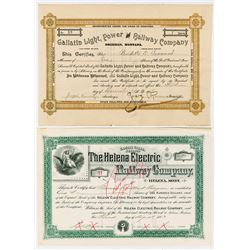 Pair of Issued Montana Railroad Stock Certificates, 1893-1896