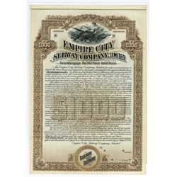 Empire City Subway Co., Ltd., 1892, Specimen Bond.