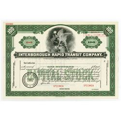 Interborough Rapid Transit Co., ca.1940-1950 Specimen Stock Certificate