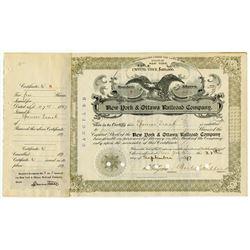New York & Ottawa Railroad Co., 1897 I/C Stock Certificate.