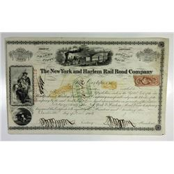New York and Harlem Rail Road Co., 1863 I/C Stock Certificate ITASB Jacob Little.