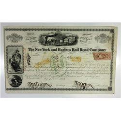 New York and Harlem Rail Road Co., 1863 I/C Stock Certificate ITASB Jacob Little.