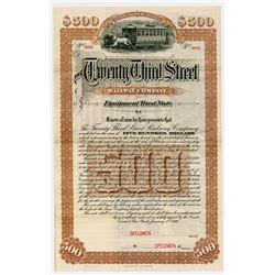 Twenty Third Street Railway Co., 1889 Specimen Equipment Trust Note Bond.