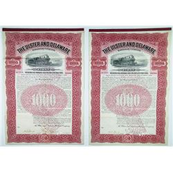 Ulster and Delaware Railroad Co., 1902 Pair of Cancelled Bonds
