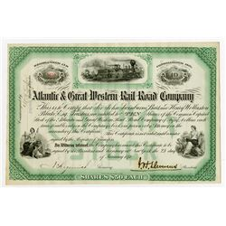 Atlantic & Great Western Rail Road Co., 1874 I/U Stock Certificate.