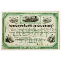 Atlantic & Great Western Rail Road Co., 1874 I/U Stock Certificate.