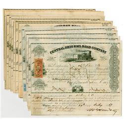 Central Ohio Rail Road Co., Group of Cancelled Stock Certificates ca.1867-1872