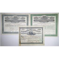 Cincinnati, New Orleans & Texas Pacific Railway Co., 1881-1912 Trio of Cancelled Stock Certificates