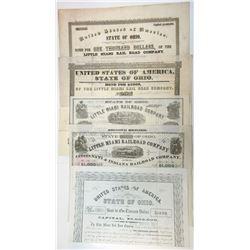 Collection of Little Miami Rail Road Co. I/C, Bonds ca.1846-1868 5 Pieces.