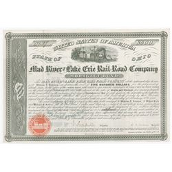 Mad River and Lake Erie Rail-Road Co., 1855 Issued Bond.